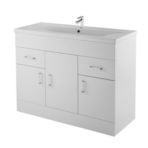 Ice Cube 1000mm Floor Standing Cabinet & Mid-Edge Basin